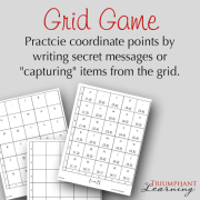 "The grid game provides practice with coordinate points by writing secret messages or ""capturing"" items from the grid."