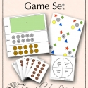math facts game set, coin change-up, pennies to nickels, more-less spinner, 6 tens, six tens, math, math games