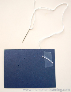 Begin stitching. Tape knotted end of thread to the back side of the card. | Triumphant Learning