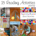 Learning to read is hard work. These 15 fun reading activities will improve gross motor skills, visual discrimination skills, and reading skills.