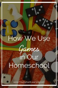 Use games in your homeschool to add variety and sneak in extra learning. Here's how we use games in our homeschool and game suggestions.