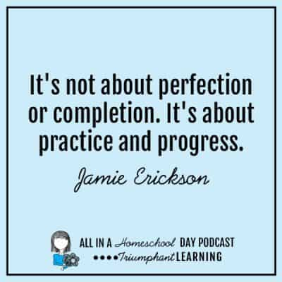 It's not about perfection or completion. It's about practice and progress. Jamie Erickson
