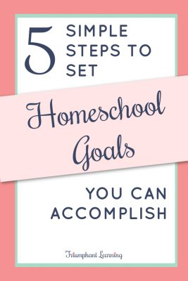 Setting homeschool goals can seem like a daunting task. In the beginning, I thought they needed to be big goals or sound impressive. In reality, they need to be small steps we can take each year to make progress toward living out our homeschool mission statement. Learn the five simple steps to set homeschool goals you will actually accomplish, the types of goals you should include, and how you can evaluate your progress.