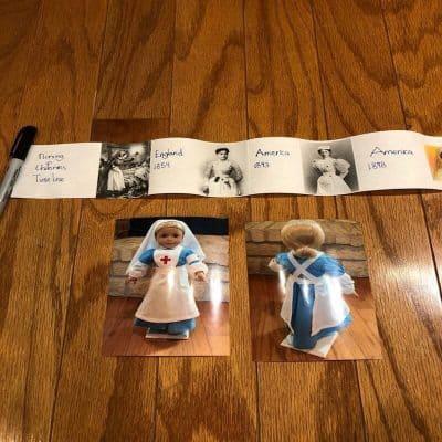 Timeline of nursing uniforms through history and a nursing uniform for American Girl doll.
