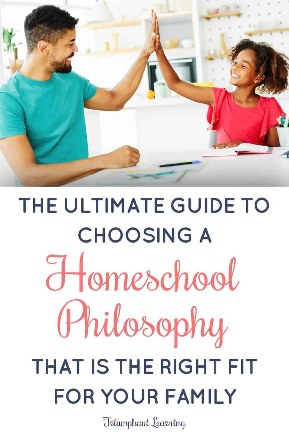 Learn what you need to know to choose a homeschool philosophy. Includes an overview and resource suggestions of seven common homeschool approaches. via @TriLearning