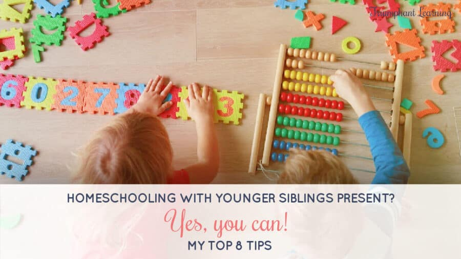 Homeschooling with younger siblings around can be distracting. Learn eight strategies for a successful homeschool day with toddlers in tow.