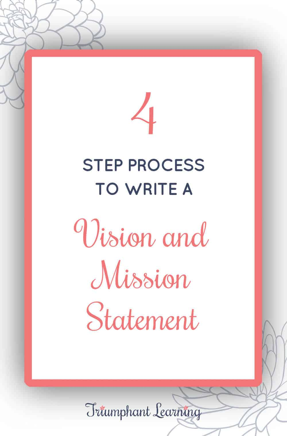 Vision and mission statements help us live with purpose. Learn a four-step process to write a vision and mission statement. via @TriLearning